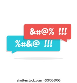 Dirty language. Cursing. Chat speech bubble with censored swearing words and shadow. Flat vector illustration isolated on white background.