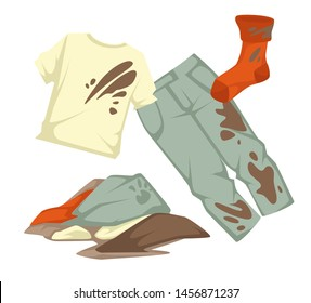 Dirty laundry mud stains on garments vector towels and clothing stockings and linen laundromat cleanliness and hygiene t-shirt and jeans clothing, pile or heap mess washing or household chore housewor