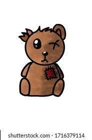 Dirty, mangy, scabby, lousy, epochal, burnt and sokaed vet monocular brown old (junk, crammy, dud) sad teddy bear. This is a torn, patchy, stuffed animal, a plush toy. Vector illustration for graphics