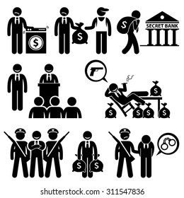 Dirty Money Laundering, Illegal Activity, Politic Crime, Stick Figure Pictogram Icons