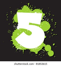 Dirty number 5. Vector illustration