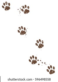 Dirty paw tracks with mud stains. Vector illustration on transparent background.