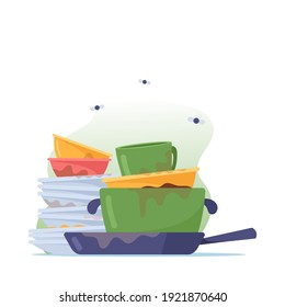 Dirty Pile of Dishes, Stack of Plates, Mugs and Frying Pan to Wash, Unhygienic Stinky Utensils, Crockery or Kitchenware with Flies around Isolated on White Background. Cartoon Vector Illustration