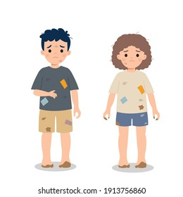 Dirty and poor hungry children. Charity awareness concept clip art. Flat vector cartoon style.
