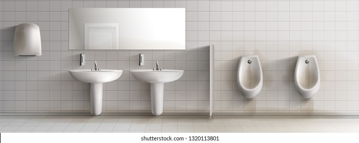 Dirty public mens toilet 3d realistic vector interior. Row of rusty and stained urinals, ceramic sinks washbasins, soap dispensers, hand drier unit and mirror hanging on white tilled wall illustration