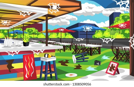 Dirty Rooftop Cafe Outdoor With Big Table And Chair With Umbrella Cafe Tent, Bars Order, Foods, Bottles For Vector Illustration Restaurant Outdoor Ideas
