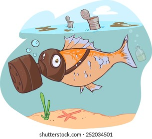 dirty sea and fish