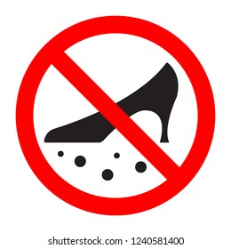 Dirty shoes are forbidden prohibition sign. Vector illustration.
