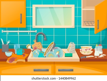 Dirty sink with kitchenware of modern kitchen with furniture and utensils. Washing dishes kitchen sink with dirt unwashed dish and accessories in the dining-dining room cartoon vector illustration.