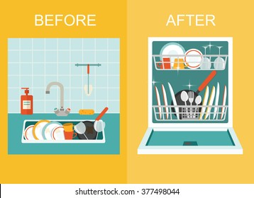 Dirty sink with kitchenware, utensil, dishes, dish detergent and a sponge.Open dishwasher with clean dishes.  Flat style vector illustration.