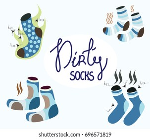 A lot of dirty, smelly, funny socks. Around them fly flies and the stench is evident. Vector. Stock illustration