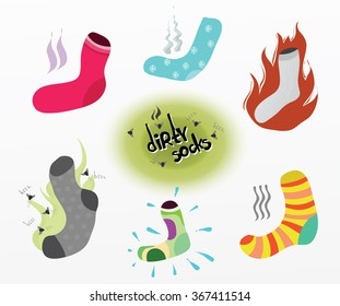 Dirty socks. The smell of dirty clothes , feet. The flies had come up on the stench.  Cleanliness , hygiene , health. Vector. Stock illustration