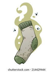 Dirty stinky sock with flies and bad smell