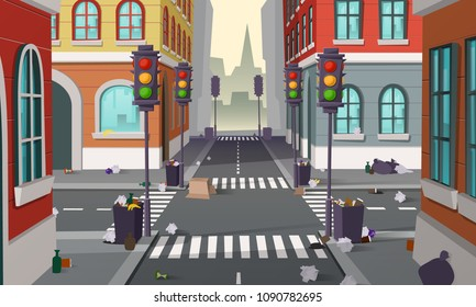 Dirty street with garbage all around, vector background. Empty city crossroad with traffic lights and buildings, with organic waste, bottles and full dustbins. Urban pollution concept illustration
