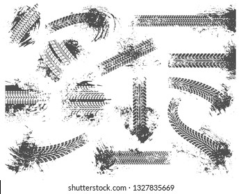 Dirty tire tracks. Grunge motor race track, wheel tires protector pattern and dirt wheels imprint texture. Mud tracks, car racing dirty treads marks. Vector illustration isolated sign set