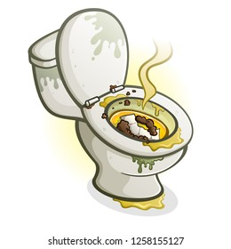 Dirty Toilet Cartoon Illustration