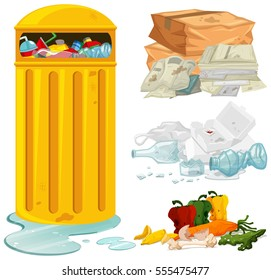Dirty trash and garbage bin illustration