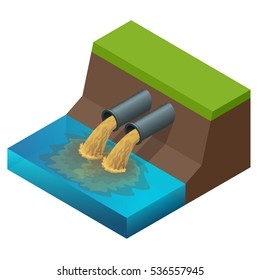 Dirty waste water. Discharge of liquid chemical waste. The danger for the environment. Flat 3d isometric illustration. For infographics and design