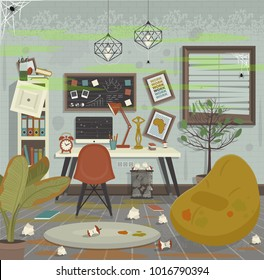 Dirty workplace flat style vector illustration.