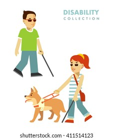 Disability blind person concept. Young disabled blind man and woman with stick and guide dog isolated on white background