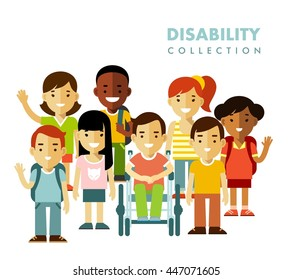 Disability children friendship concept. Disabled boy in wheelchair together with friends isolated on white background