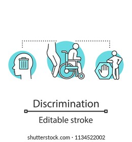 Disability discrimination concept icon. Ableism idea thin line illustration. Prejudice towards disabled people. Vector isolated outline drawing. Editable stroke