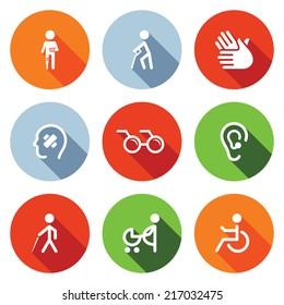 Disability flat Icons Set