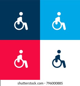 Disability four color material and minimal icon logo set in red and blue