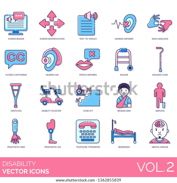 Disability Icons Including Screen Reader Magnification Stock