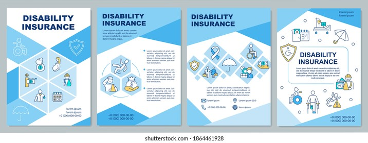 Disability insurance brochure template. Coverage monthly income. Flyer, booklet, leaflet print, cover design with linear icons. Vector layouts for magazines, annual reports, advertising posters