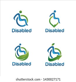 Disability logo set. Vector disabled people support, sport, help logo, icon. Man sitting on the wheelchair holding star. Happy disabled people.