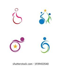 disability logo set vector illustration design template
