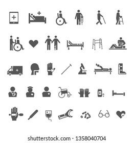 disability and medical rehabilitation icon set black and white flat design
