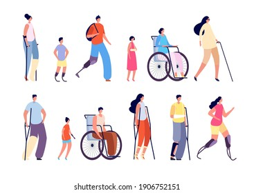 Disability people. Children trauma, people with bandages crutch in wheelchair. Disabled man woman, isolated injured person vector character