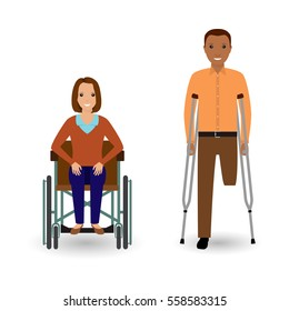 Disability people concept. Invalid woman in wheelchair and disabled african american man with crutches isolated on a white background. Flat style vector illustration.