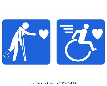 disability people pursuing love design icon