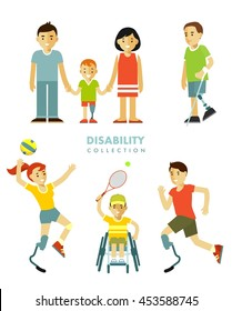 Disability people set. Young disabled person with prosthesis, in wheelchair in sport activity, child and family isolated on white background