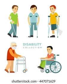 Disability people set. Young and elderly disabled men in wheelchair, with crutches, stick, walker isolated on white background