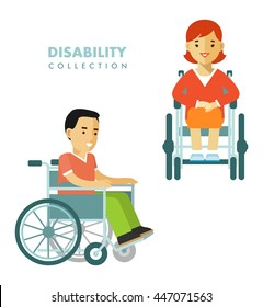 Disability person concept. People set with young disabled man and woman in wheelchair isolated on white background