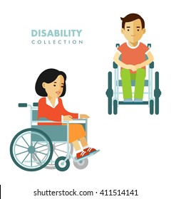 Disability person concept. Young disabled man and woman in wheelchair isolated on white background