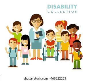 Disability school children friendship concept. Disabled boy in wheelchair together with healthy kids class group and teacher isolated on white background