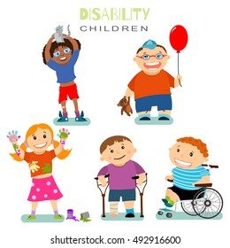 Disability and special needs children with friends. Vector cartoon character set isolated on a white background.