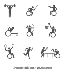 disability sport icon set