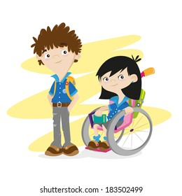 Disable girl and boy, kids, students. Wheelchair.