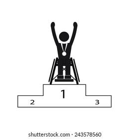 Disable Handicap Sport Paralympic Games Winner Figure Pictogram Icon