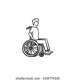 Disable person in wheelchair hand drawn outline doodle icon. Barrier-free environment concept vector sketch illustration for print, web, mobile and infographics isolated on white background.