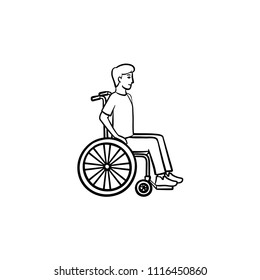 Disable person in wheelchair hand drawn outline doodle icon. Barrier-free friendly environment concept vector sketch illustration for print, web, mobile and infographics isolated on white background.