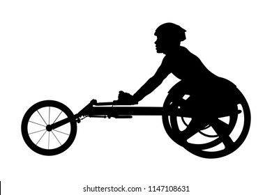disabled athlete racer on wheelchair racing black silhouette