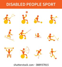 Disabled athletes. 12 vector icons. Wheelchair tennis, fencing, archery, powerlifting, swimming, table tennis, cycling, ice sledge hockey, skiing, handicapped runner, football. Paralympics games.