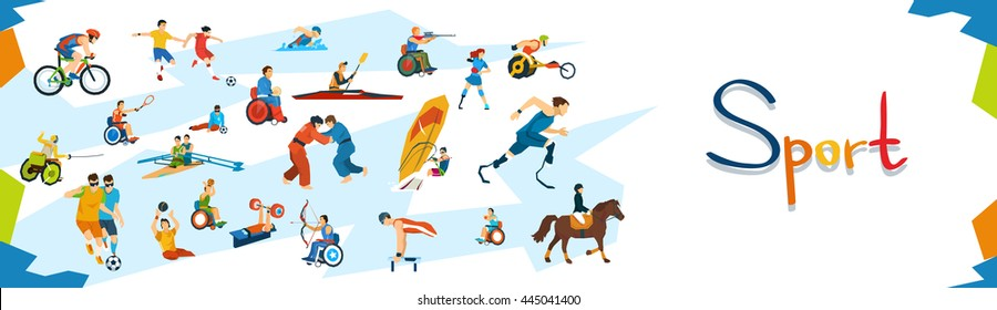 Disabled Athletes Sport Competition Banner Flat Vector Illustration